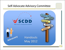 Self Advocates Advisory Meeting May 2012