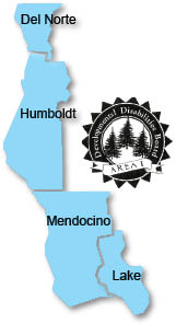 Map of the counties that the North Coast Regional Office serves. They are Del Norte, Humboldt, Mendocino, and Lake.