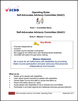 Statewide Self-Advocacy Committee Operating Rules