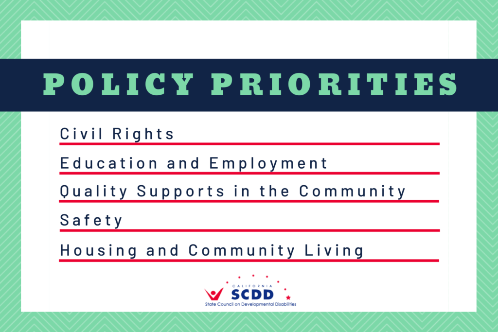 Policy Priorities. Civil Rights. Education and Employment. Quality Supports in the Community. Safety. Housing and Community Living.