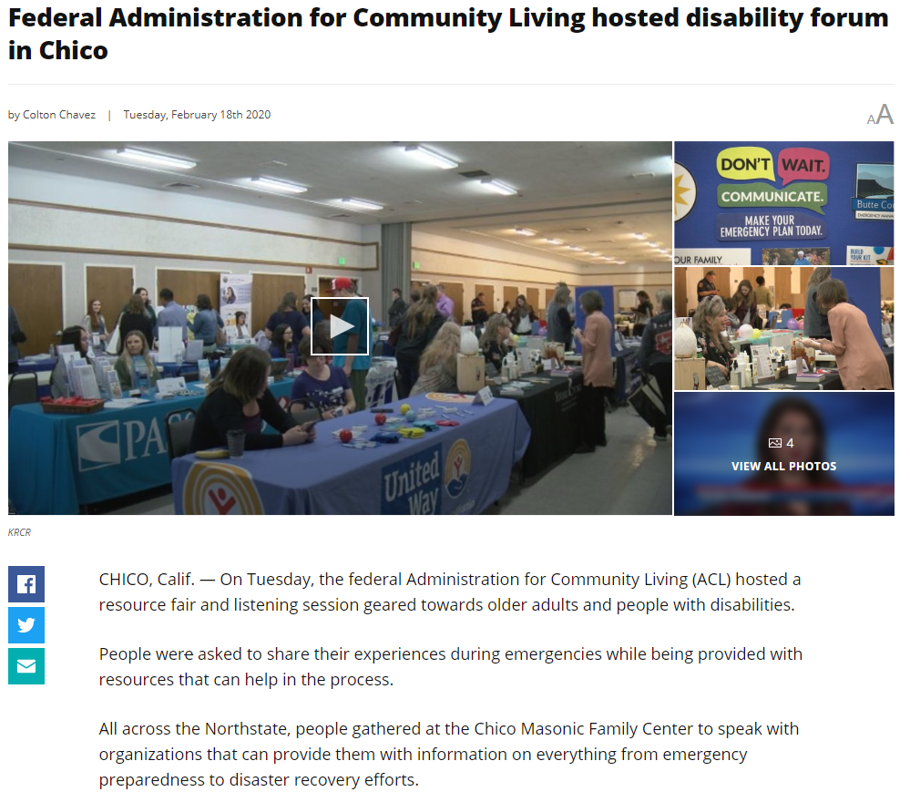 Screenshot of a news article about a listening session in Chico