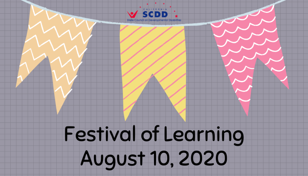 Gray card with orange, yellow, and pink party banners. Texts read, Festival of Learning, August 10, 2020. State Council on Developmental Disabilities logo.