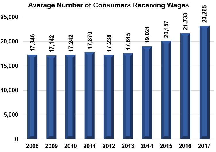 Average Number of Consumers Receiving Wages Bar Graph 2008: 17,346 2009: 17,142 2010: 17,242 2011: 17,870 2012: 17,238 2013: 17,615 2014: 19,021 2015: 20,157 2016: 21,733 2017: 23,265