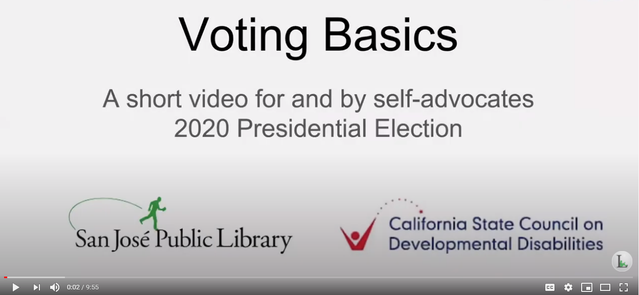 Voting basics. A short video for an by self-advocates 2020 presidential election. San Jose Public Library logo. California State Council on Developmental Disabilities logo.