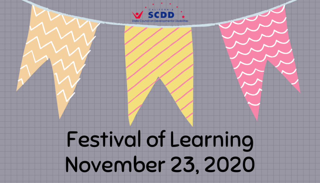 Gray card with orange, yellow, and pink party banners. Texts read, Festival of Learning, November 23, 2020. State Council on Developmental Disabilities logo.